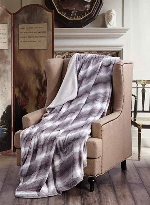 Zephyr Gray Faux Fur Luxury Plush Sherpa Throw Blanket by Duke Imports (50x70 Inches)