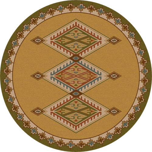 "Ancestry/Green Round Rug by American Dakota (Approx. 7'7"")"