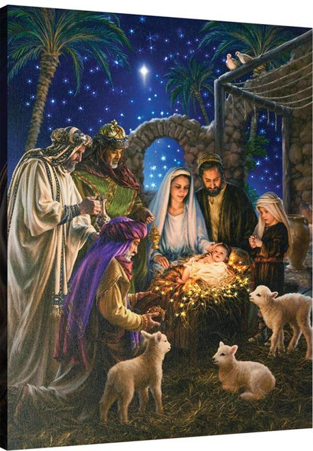 Away In A Manger Fiber Optic Canvas With Remote