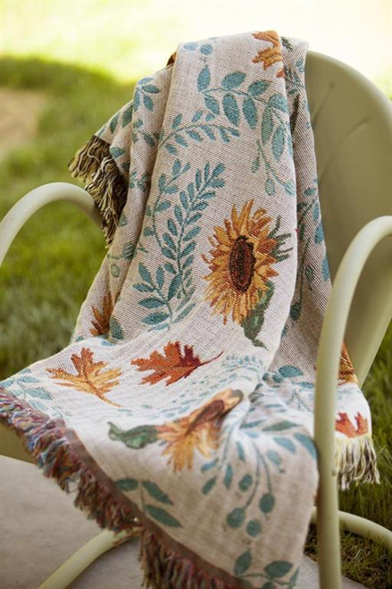 Harvest Gathering Sunflower Cotton Tapestry Throw