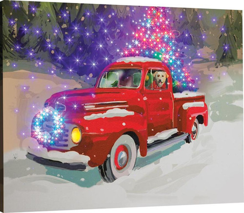 Holiday Drive Fiber Optic Canvas With Remote
