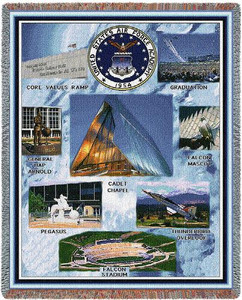 United States Air Force Academy Stadium Throw Blanket (Collage 1) (54x70 Inches)