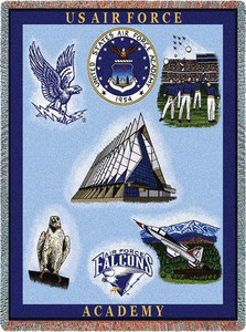 Uinted States Air Force Academy Stadium Throw Blanket (Collage 2) (54x70 Inches)