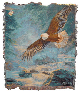 American Majesty Throw Blanket with no Verse by Manual Woodworkers & Weavers. (50x60 Inches)