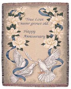 Happy Anniversary Tapestry Throw Blanket