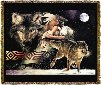 Arapaho Wolf Moon Tapestry Throw