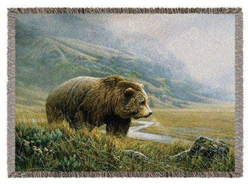 Autumn Ascent Grizzly Bear Tapestry Throw WT-RTP287459