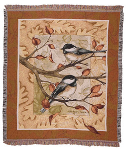 Autumn Chickadee Tapestry Throw Blanket or Pillow