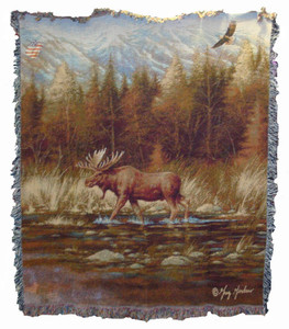 Autumn Memories Moose Tapestry Throw