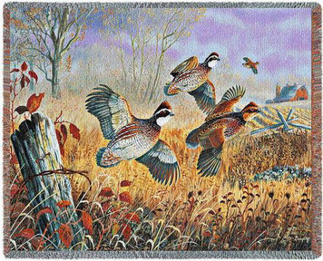 Back Forty Flush Quail Tapestry Throw PC4722-T