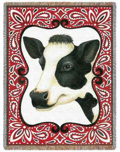 Bandana Cow Woven Tapestry Throw or Afghan P2436-T