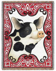 Bandana Pig Woven Afghan or Throw P2437-T