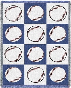 Baseballs Woven Cotton Throw