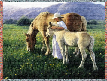Beautiful Blondes Horse Afghan or Throw