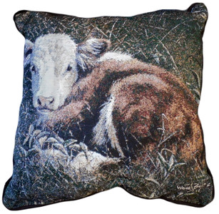 Bedded Down Cow Calf Tapestry Pillow
