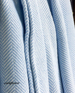 Twin Herringbone Cotton Blanket with White Background