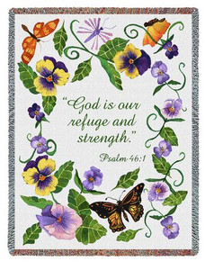 Butterflies Psalm Tapestry Throw