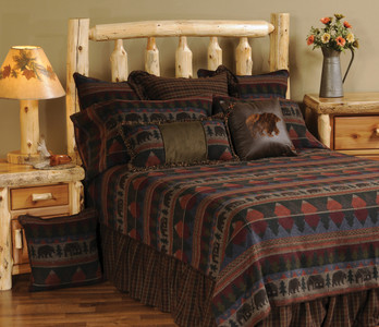 Wooded River Cabin Bear Bedspread