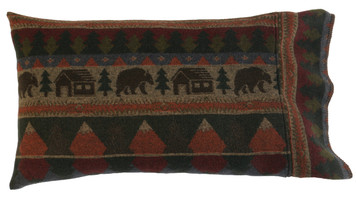 Wooded River Cabin Bear Pillow Shams