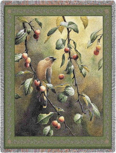 Cherry Chase Cedar Waxwing Bird Tapestry Throw PC2506-T
