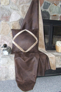 Chocolate Faux Leather and Microfiber Fleece Throw