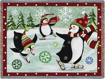 Christmas Penguin Tapestry Throw PC-5520-T