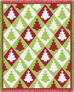 Christmas Tree Diamond 3 Layer Woven Throw