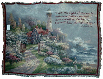 Coastal Splendor Lighthouse Throw With or Without Verse John 8-12
