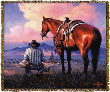 Counting His Blessings Horse Throw by Jack Sorenson