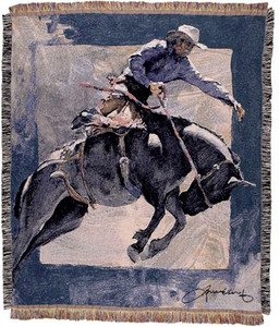 Countdown in Blue Cowboy Tapestry Throw WT-TPM844