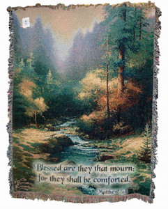 Thomas Kinkade Creekside Trail Tapestry Throw with Verse