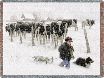 Curious Onlookers Cow Tapestry Throw PC-2325-T