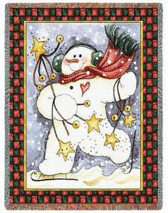 Dancing Snowman Tapestry Throw