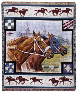 OUT OF STOCK   Day at the Races Horse Tapestry Throw