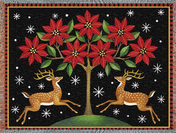 Deer Poinsettia and Tree Afghan or Throw PC 2448-T