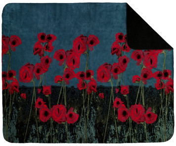 Denali Poppies/Black MicroPlush Throw