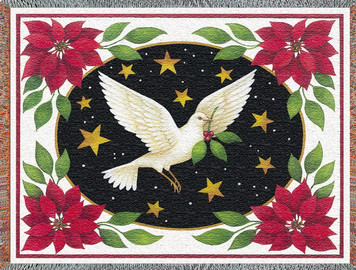 Dove and Poinsettias Afghan or Throw PC 2449-T