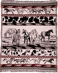 Eco2Cotton™ Paints Horse 2 Layer Throw