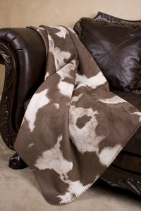 Faux Cowhide faux leather throw blanket