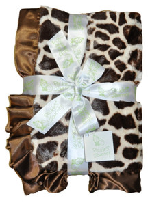 Giraffe Faux Fur and Satin Baby Blanket