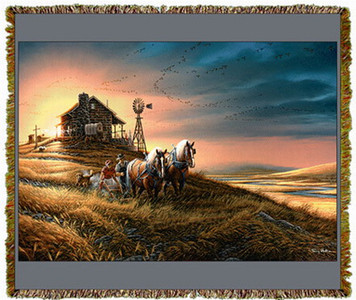 For Amber Waves of Grain by Terry Redlin Tapestry Throw MS-0866TU3