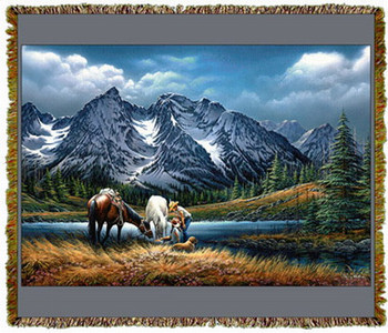 For Purple Mountain Majesties by Terry Redlin Tapestry Throw