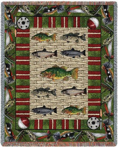 Gone Fishing Tapestry Afghan or Throw