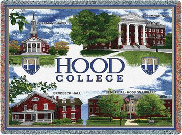 Hood College Campus Collage Stadium Throw Blanket (54x70 Inches)
