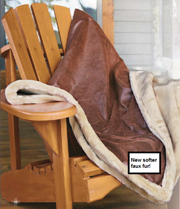 Kanata Buffalo Faux Leather and Faux Fur Throw Blanket