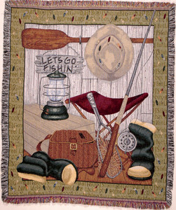 Lets Go Fishing Tapestry Throw Blanket