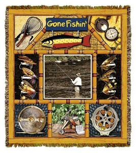 Lodge Fly Fishing Cotton Tapestry Throw