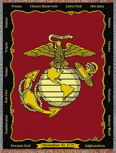 Marine Corps Tapestry Afghan or Throw