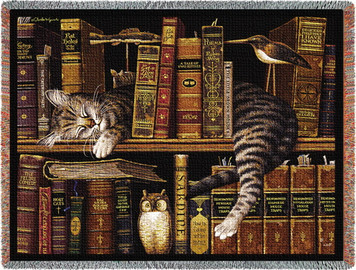 Max in the Stacks Cat Afghan or Throw PC2876-T
