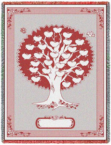 Monogram Family Tree Woven Throw in 3 Colors